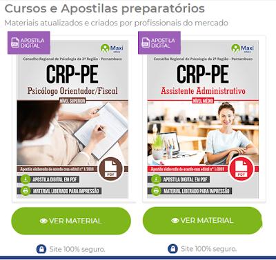 Apostilas concursos CRP-PE - Conselho Regional de Psicologia de Pernambuco