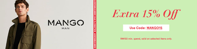 ZALORA 8TH BIRTHDAY ANNIVERSARY - MANGO (MALE) EXTRA 20% OFF