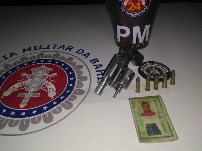 Policiais da 24ª CIPM prendem homem por porte ilegal de arma de fogo em Caldeirão Grande
