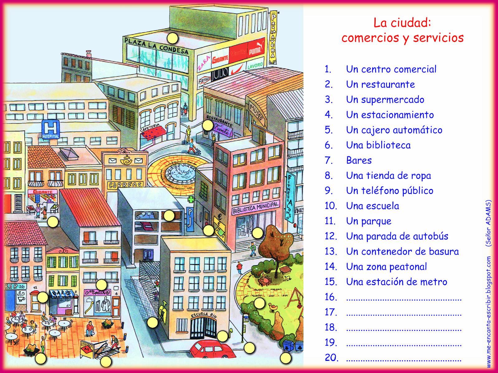 Me Encanta Escribir En Espanol La Ciudad Comercios Y