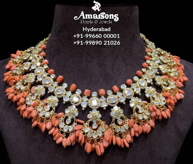 Coral Drops Polki Choker by Amarsons