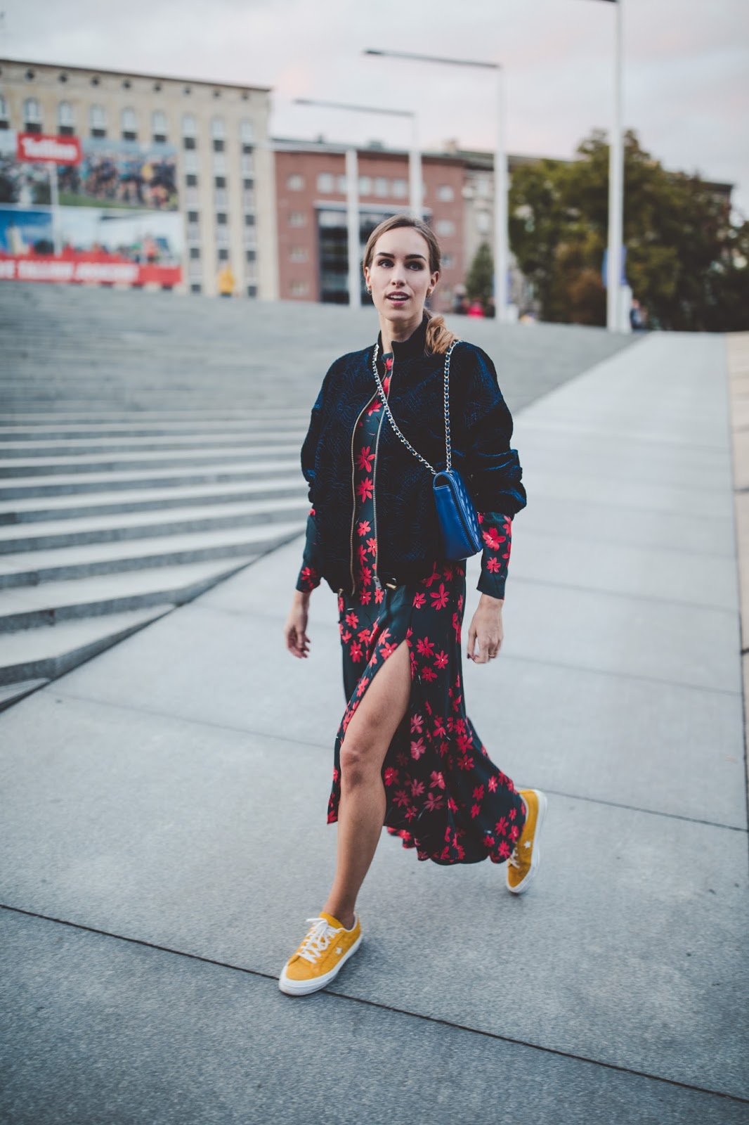 fall floral dress street style