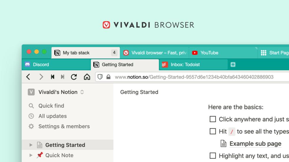 Vivaldi browser adesso ha due righe per le schede