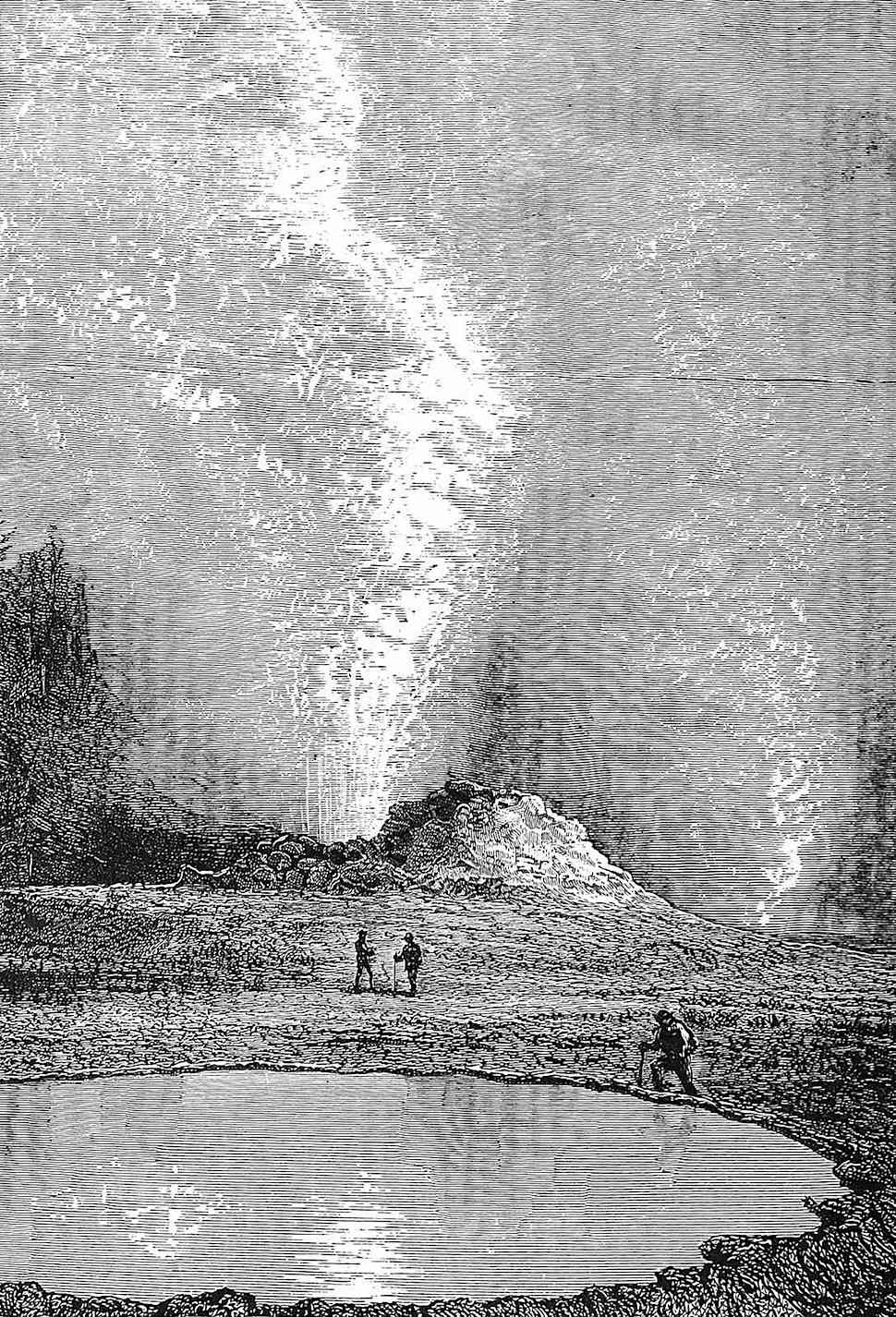 an 1800s geyser pool illustrated