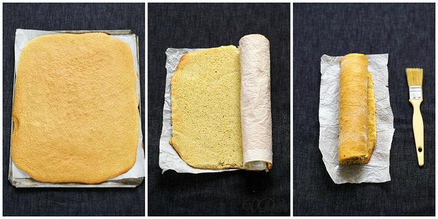 Bûche roulée au citron (photos pas à pas du roulage biscuit)