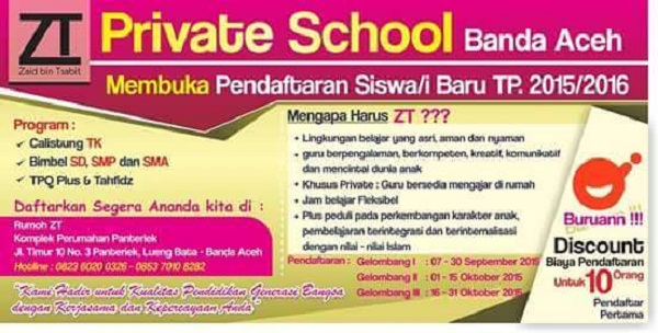 ZT PRIVATE SCHOOL : GURU PRIVATE - KOTA BANDA ACEH