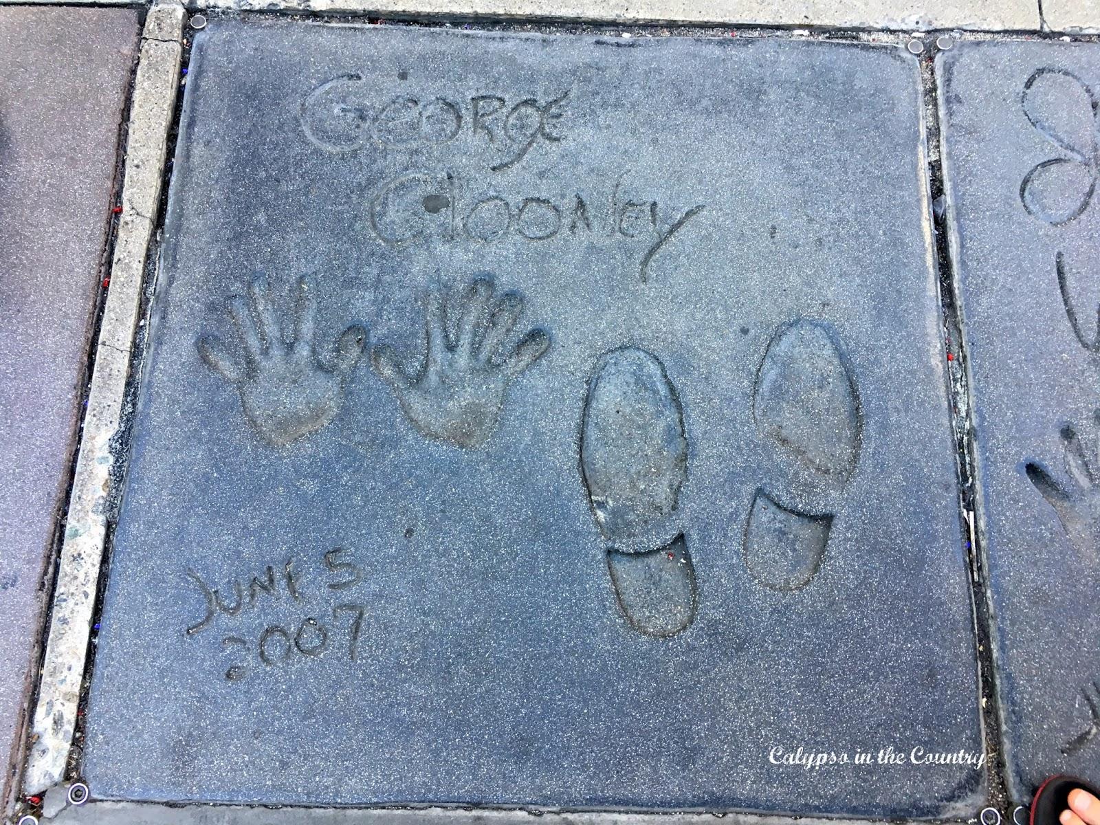 George Clooney's footprints in Hollywood