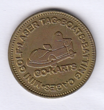 A game token from Boondocks Fun Center in Northglenn