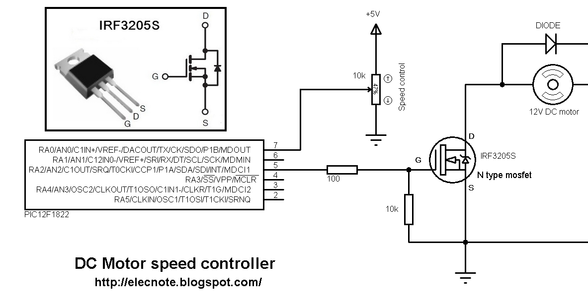 Electronics note dc motor speed controller using for Motor speed control pwm