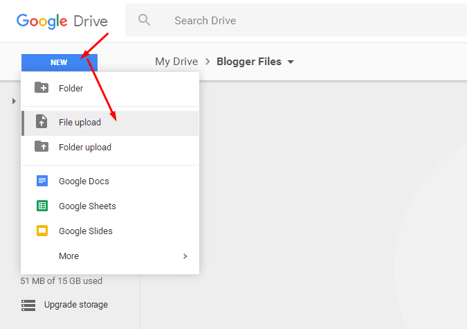 Upload Files to Blogger