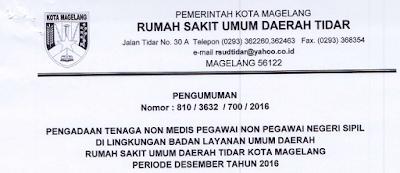 Pengadaan Tenaga Non Medis (Non PNS) RSUD Tidar Kota Magelang Desember 2016