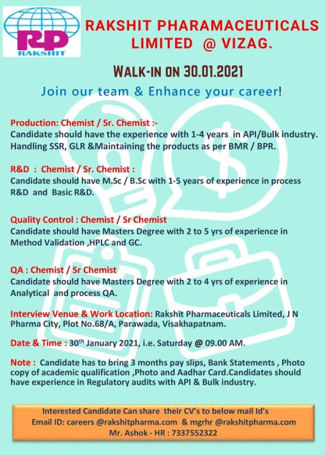 Rakshit Pharma | Walk-in for Production/QC/QA/R&D on 30 Jan 2021