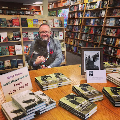 Grant Hayter-Menzies and his dog Freddie at a book signing