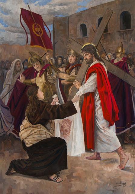 VI Estação da Via-Sacra - Verônica enxuga o rosto de Jesus