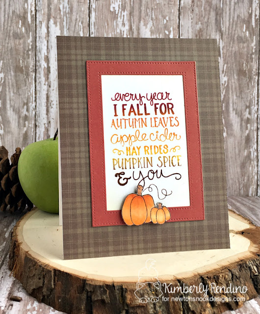 fall-ing for you card by Kimberly Rendino | Newton's Nook | handmade card | stamping | papercraft | cardmaking | autumn | fall | pumpkins | pumpkin spice | hay rides | apple cider | autumn leaves | kimpletekreativity.blogspot.com