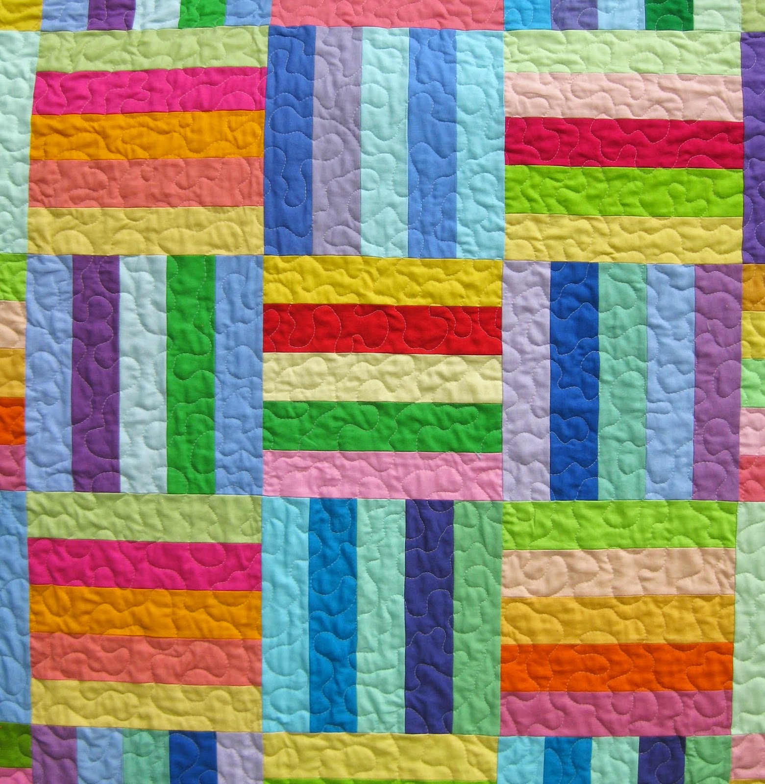 Meadow Mist Designs: Rainbow Rail Fence Quilt and Tutorial ...