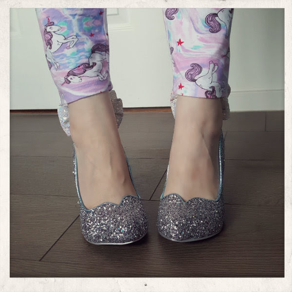 wearing irregular choice cinderella sparkling slipper front