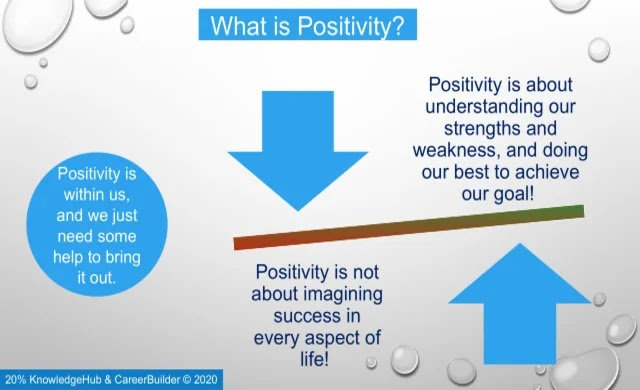 'Positive thinking' is about understanding our strengths and weakness and doing our best to achieve the goal.