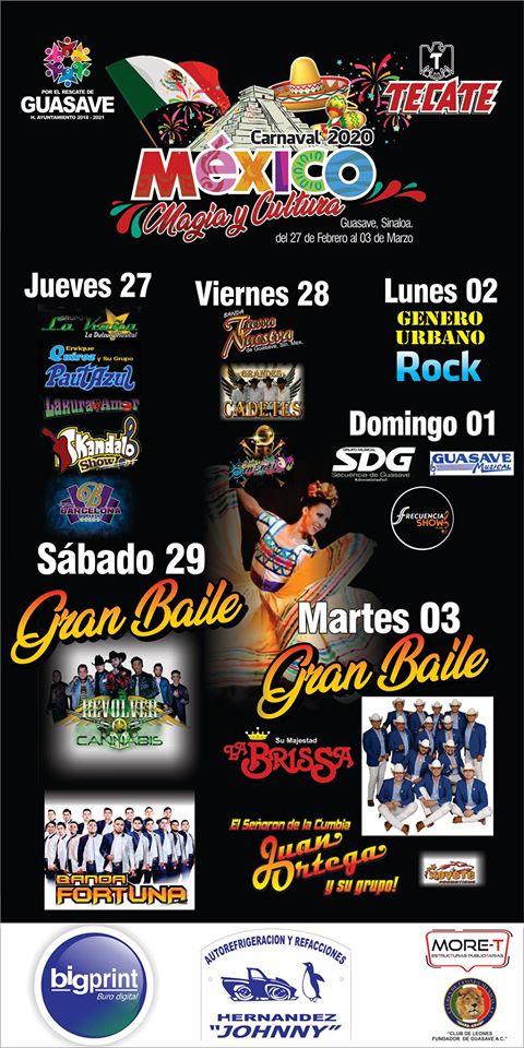 programa carnaval Guasave 2020