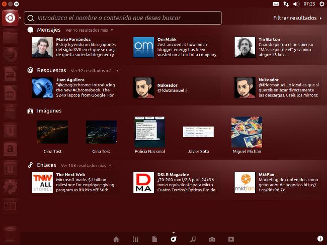 Ubuntu 12.10 lente social