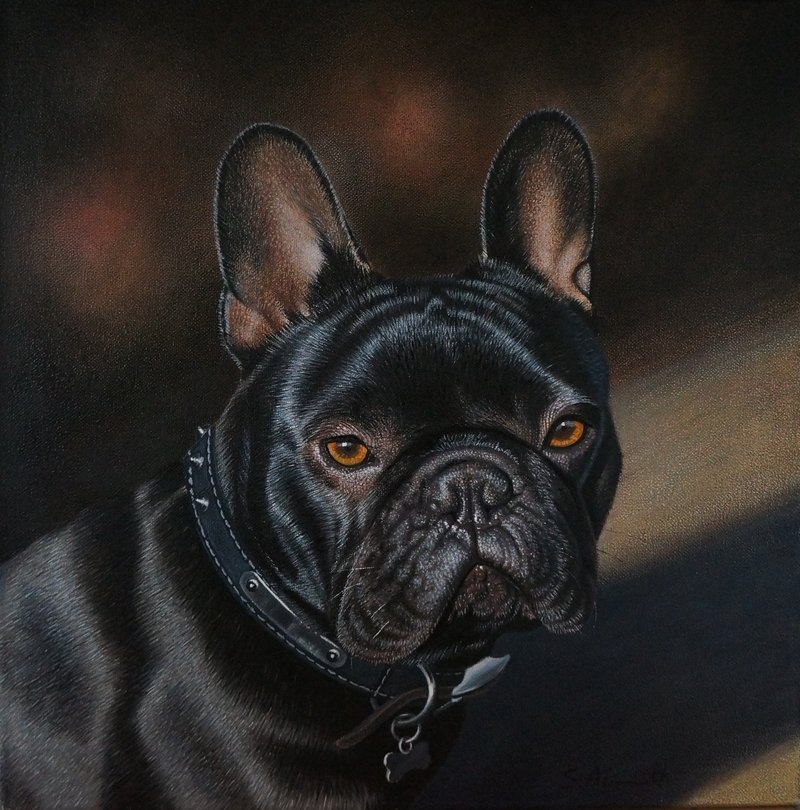 05-French-Bulldog-Stephen-Ainsworth-Nine-Animal-Drawings-and-One-Painting-www-designstack-co