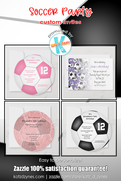 Soccer celebration invitations and party supplies by katzdzynes