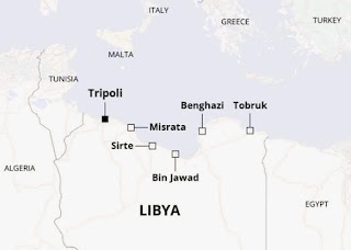 Sirte lies at the center of Libya's Mediterranean coastline