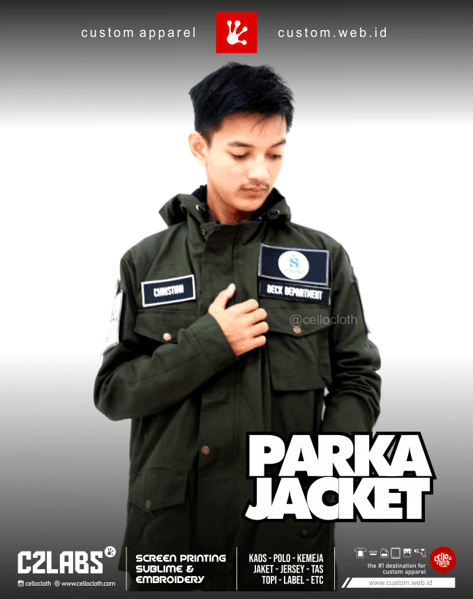 Parka Jacket Custom Bordir Plus Velcro Custom Jaket Jogja