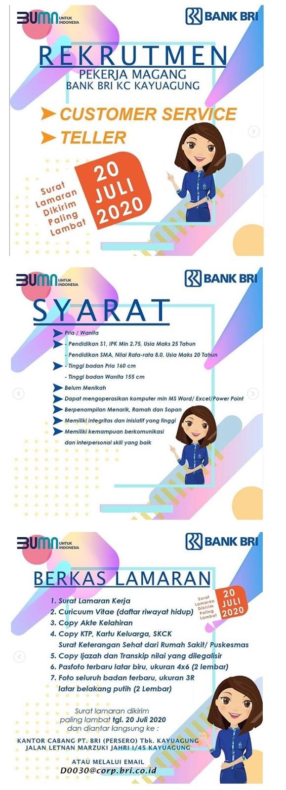 Rekrutmen Pegawai CS Teller PT Bank Rakyat Indonesia (Persero) Tbk Juli 2020