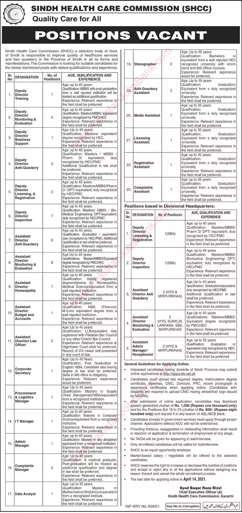 Latest Jobs in Pakistan Sindh Health Care Commission Jobs 2021