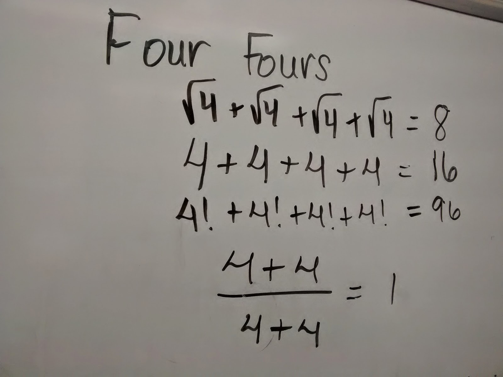 Math Love Four Fours Tons Of Fun
