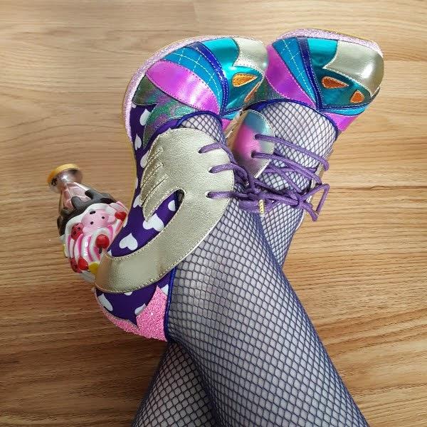 wearing House Of Holland fishnets and ice cream sundae shoes