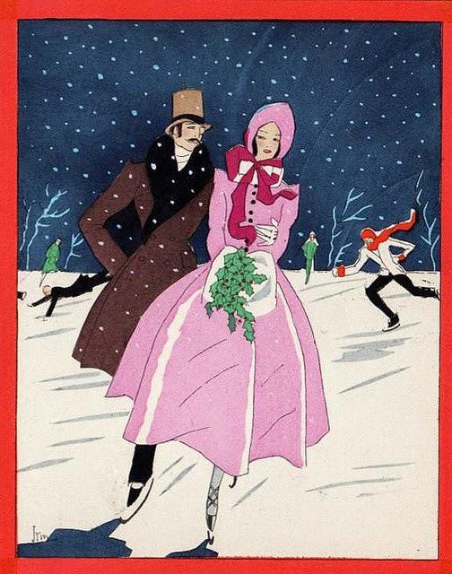 Παλιές κάρτες art deco για τα Χριστούγεννα