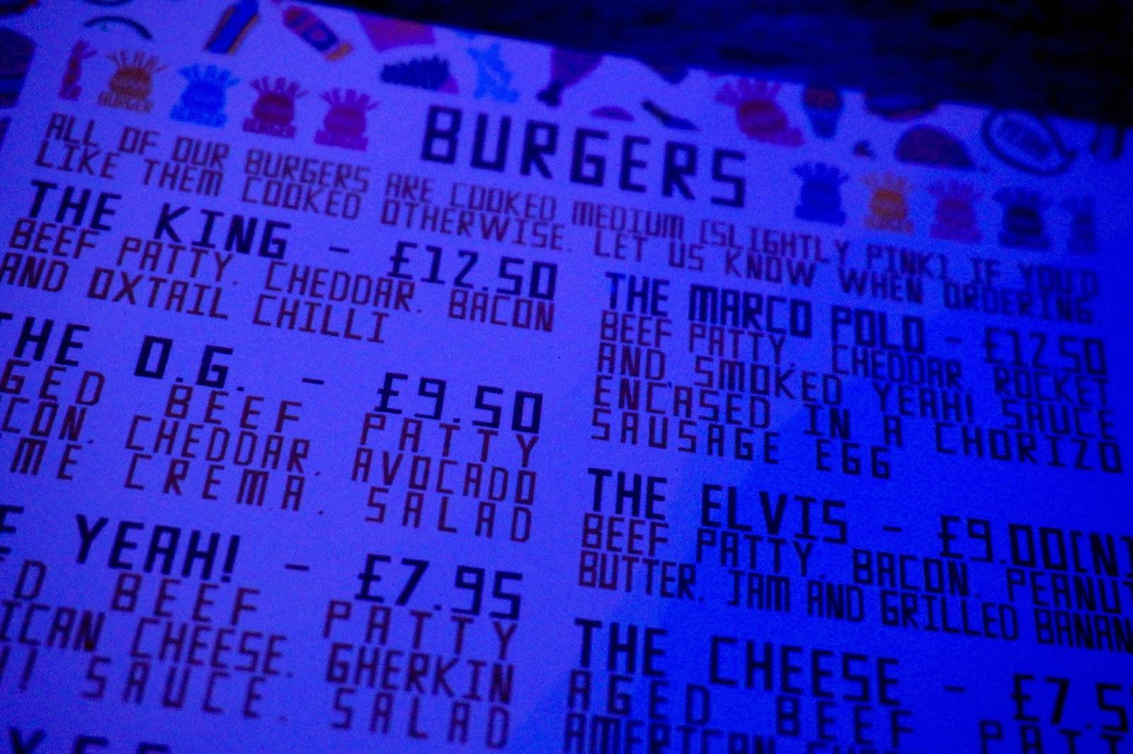 burger place menu