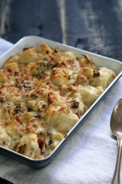 gratin ,choux fleur , parmesan , jambon cru , champignons , diner familial