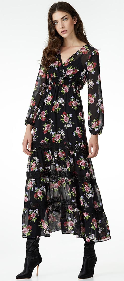Robe longue noire à fleurs Liu Jo