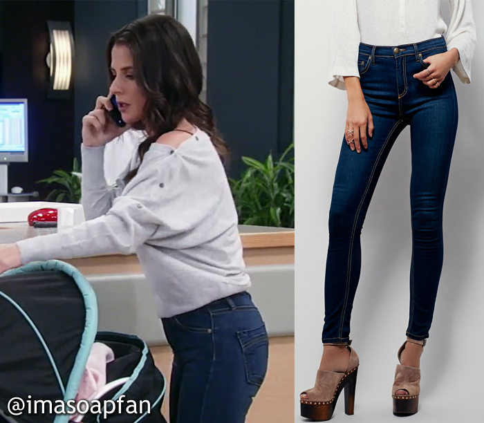 Sam Morgan, Kelly Monaco, Dark Blue Skinny Jeans, Free People, General Hospital, Season 55, Episode 05/08/17