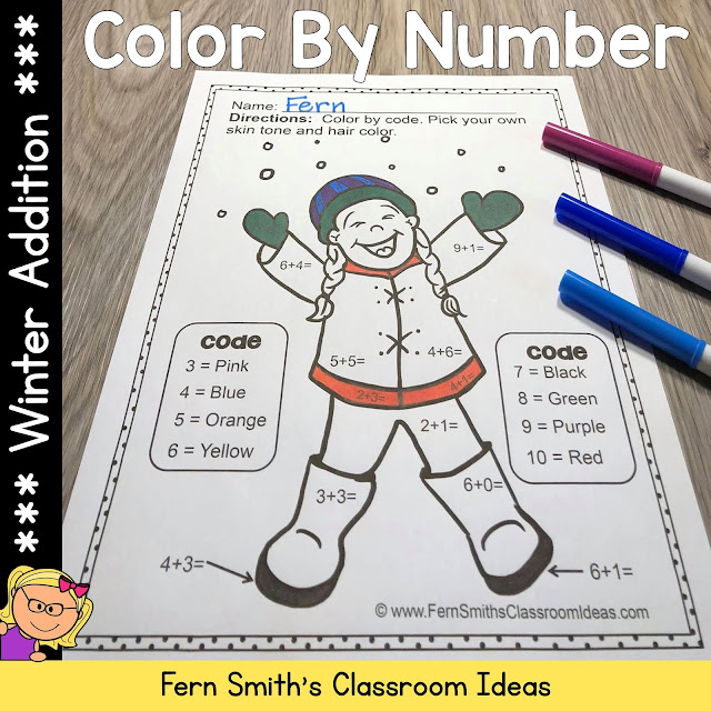 Winter Color By Number Addition #FernSmithsClassroomIdeas
