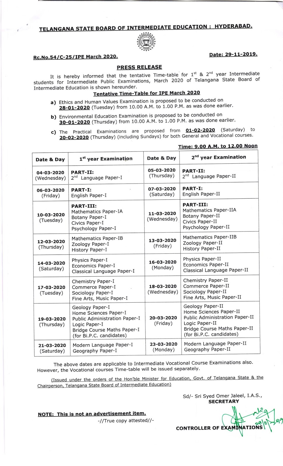 TS Intermediate Examination 1st Year and 2nd Year Time Table  2020