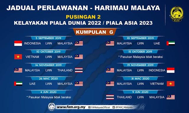 Jadual Perlawanan Kelayakan Piala Dunia 2022 Malaysia