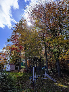 Sun Over Trees And Swing Set On An Autumn Afternoon