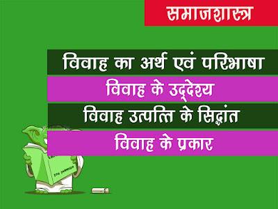 विवाह का अर्थ एवं परिभाषाएं,उद्देश्य एवं प्रकार   विवाह की उत्पत्ति के सिद्धांत  Marriage Definition Origin an Aim in Hindi