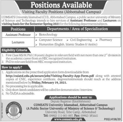 Comsats University Islamabad CUI Jobs 2021 in Abbottabad Campus