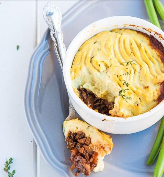 Mushroom and Cauliflower Vegan Shepherds Pie