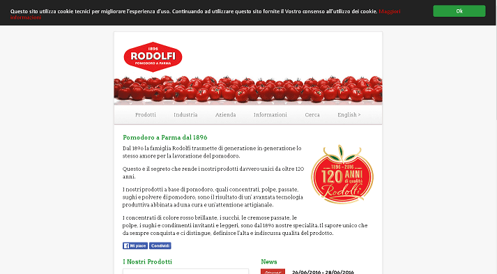 Picture to Italian food exporter company named Rodolfi
