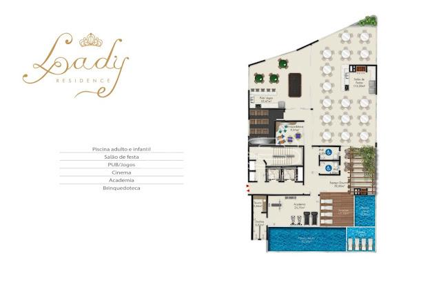 Lady Residence Planta área de lazer