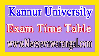 Kannur University M.Sc Maths (SDE) 1st Year Practical Nov 2016 Exam Time Table