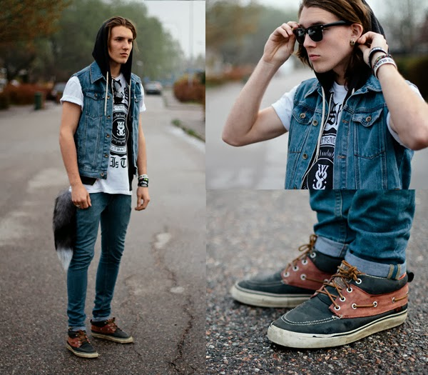 1b74a62f7a48f MODA MASCULINA  Coletes Jaquetas Jeans (Looks)! - Seguindoalinha