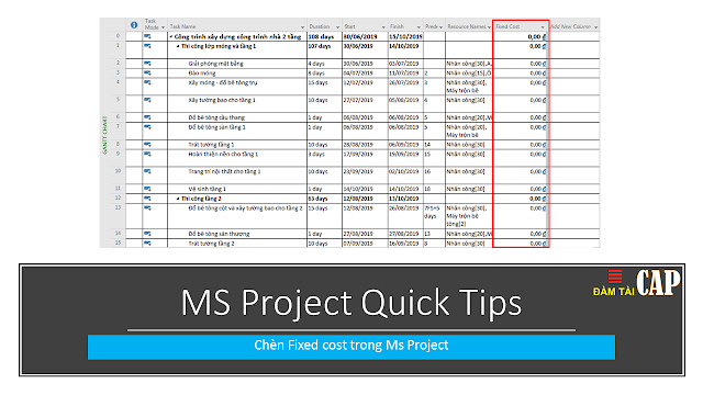 MS Project Quick Tips: Chèn Fixed cost trong Ms Project