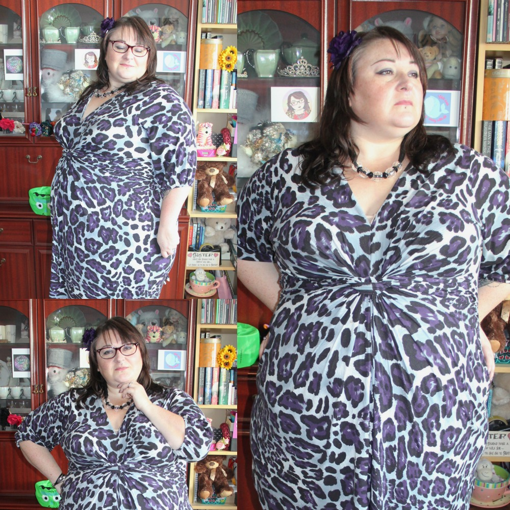 PLUS SIZE SIMPLY BE PURPLE LEOPARD PRINT DRESS